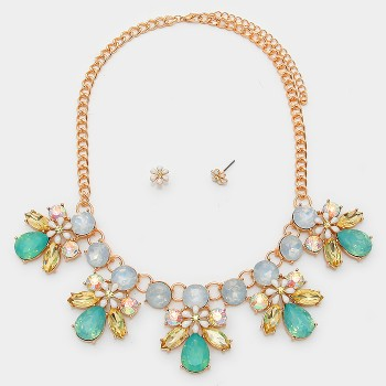 Pastels Floral Crystal Teardrop Statement Necklace